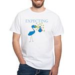 Expecting Blue Stork White T-Shirt
