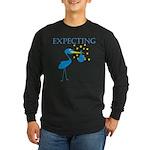 Expecting Blue Stork Long Sleeve Dark T-Shirt
