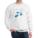 Expecting Blue Stork Sweatshirt