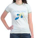 Expecting Blue Stork Jr. Ringer T-Shirt