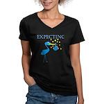 Expecting Blue Stork Women's V-Neck Dark T-Shirt