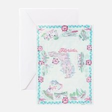 Vintage Florida Map Tablecloth Greeting Card