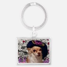 Chi Chi the Chihuahua in Flower Landscape Keychain
