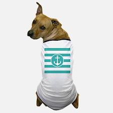 Turquoise nautical anchor stripes Dog T-Shirt