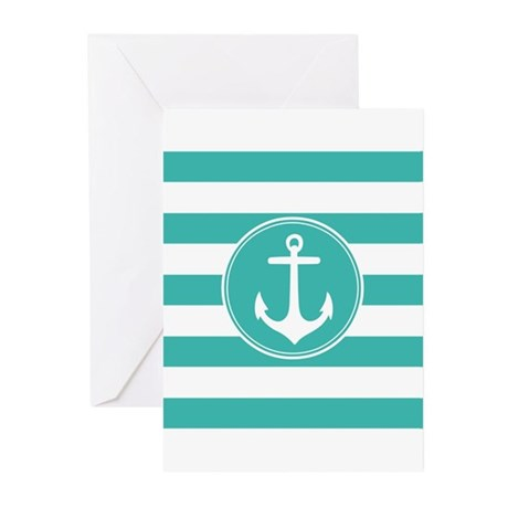 Turquoise nautical anchor stripes Greeting Cards