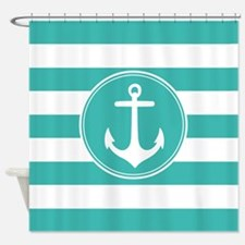 Turquoise nautical anchor stripes Shower Curtain
