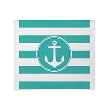 Turquoise nautical anchor stripes Throw Blanket