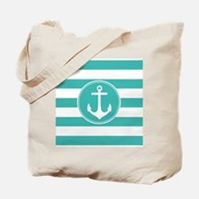 Turquoise nautical anchor stripes Tote Bag