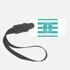 Turquoise nautical anchor stripes Luggage Tag