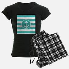Turquoise nautical anchor stripes Pajamas