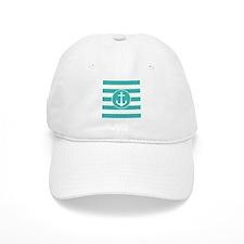 Turquoise nautical anchor stripes Baseball Baseball Cap