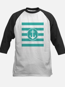 Turquoise nautical anchor stripes Baseball Jersey