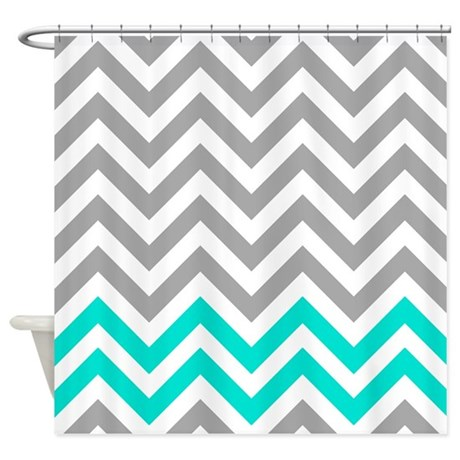 Gray And Turquoise 1 Chevrons Shower Curtain By