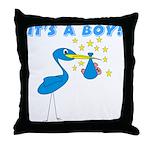 It's a Boy Stork Throw Pillow
