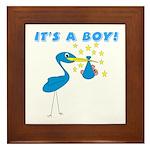 It's a Boy Stork Framed Tile