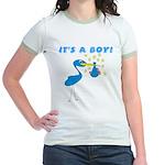It's a Boy Stork Jr. Ringer T-Shirt