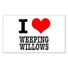 I Heart (Love) Weeping Willows Sticker (Rectangula