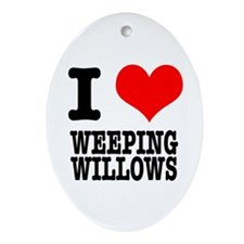 I Heart (Love) Weeping Willows Oval Ornament