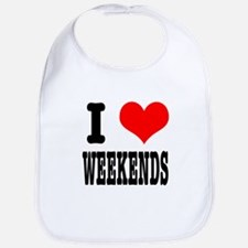 I Heart (Love) Weekends Bib