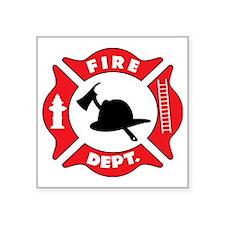 "Fire Department Logo Square Sticker 3"" x 3"""
