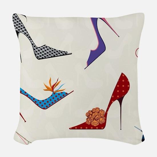 High Heels Seamless Pattern. Woven Throw Pillow