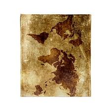 Vintage World Map Throw Blanket