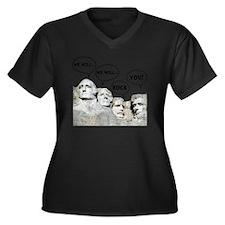 Rushmore Roc Women's Plus Size Dark V-Neck T-Shirt