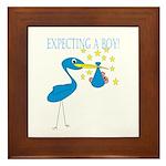 Expecting a Boy Stork Framed Tile