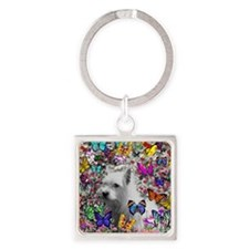 Violet the White Westie in Butterf Square Keychain