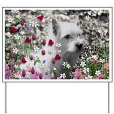 Violet the White Westie in Flowers Yard Sign