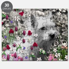 Violet the White Westie in Flowers Puzzle