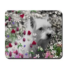 Violet the White Westie in Flowers Mousepad