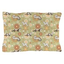 Ferrets and Flowers Pillow Case