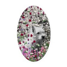 Violet the White Westie in Flowers Oval Car Magnet