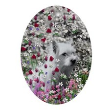 Violet the White Westie in Flowers Oval Ornament