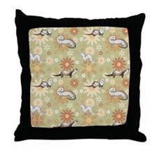 Ferrets and Flowers Throw Pillow