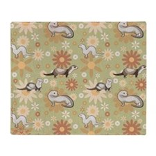 Ferrets and Flowers Throw Blanket