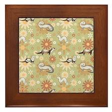 Ferrets and Flowers Framed Tile