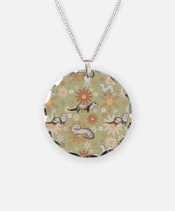Ferrets and Flowers Necklace Circle Charm