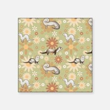 "Ferrets and Flowers Square Sticker 3"" x 3"""