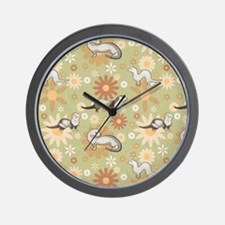 Ferrets and Flowers Wall Clock