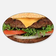 Funny Hamburger Sticker (Oval)