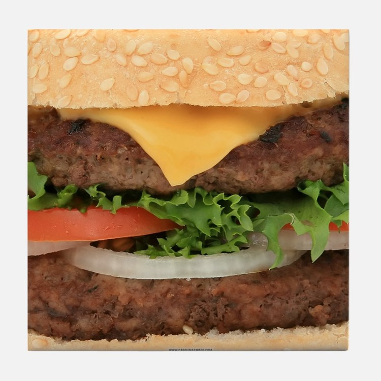 Funny Hamburger Tile Coaster