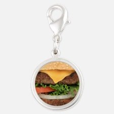 Funny Hamburger Silver Round Charm