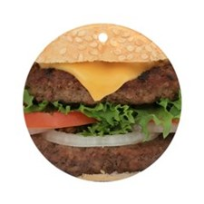 Funny Hamburger Round Ornament