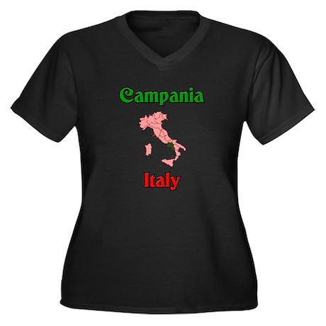 Campania Italy Women's Plus Size V-Neck Dark T-Shi