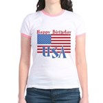 4th of July Happy Bday Jr. Ringer T-Shirt