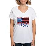 4th of July Happy Bday Women's V-Neck T-Shirt