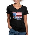 4th of July Happy Bday Women's V-Neck Dark T-Shirt