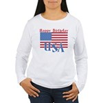 4th of July Happy Bday Women's Long Sleeve T-Shirt